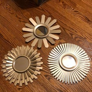 Lot of Three Gold Wall Mirror Accents